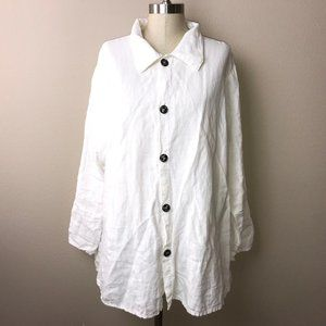 CP Shades Ivory Linen Shirt Tunic Top Button Front